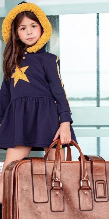 Vestido niña sudadera marino con estrella pechera de Vera Moda Infantil [0]