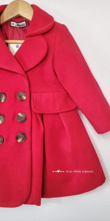 Abrigo niña muflón tipo gabardina rojo de Nekenia