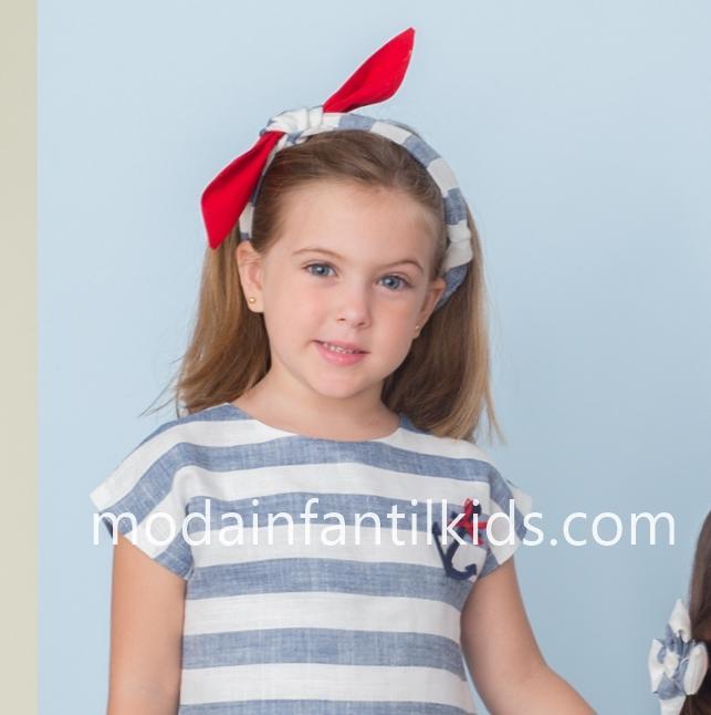 Bandaba niña rayas azules y blanco Basmarti