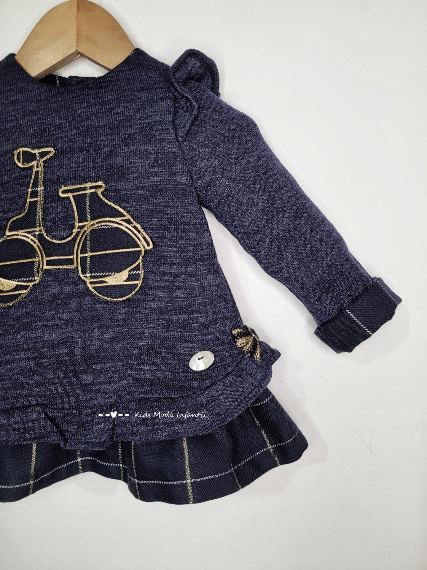 Vestido bebe marino con vespa pechera de Basmarti