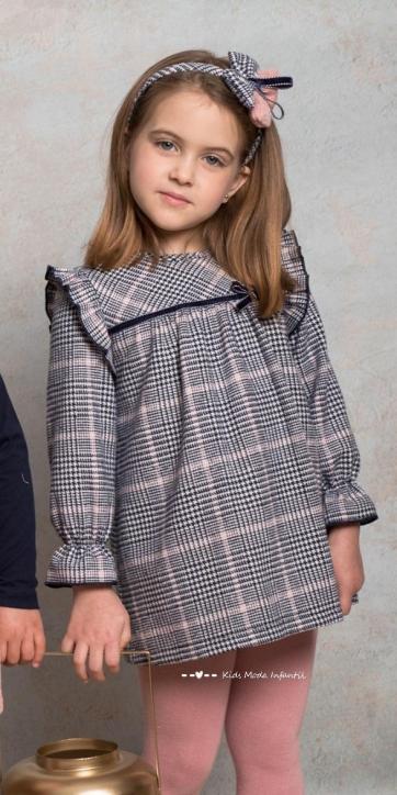 Vestido niña evase cuadros pata de gallo de Cuka Moda Infantil [0]