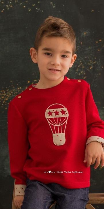 Sudadera niño punto granate de Cuka Moda Infantil