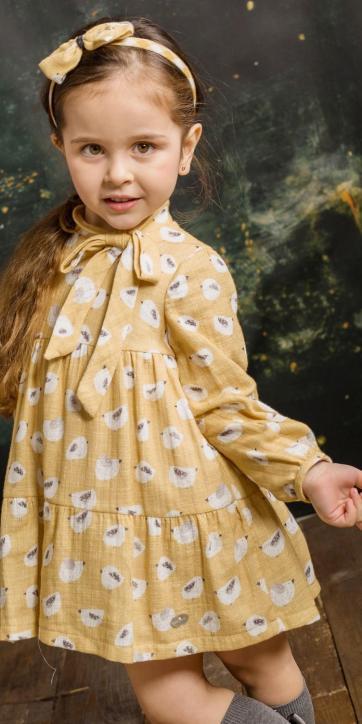Vestido niña vestir volantes canasteros de pollitos estampados de Basmartí