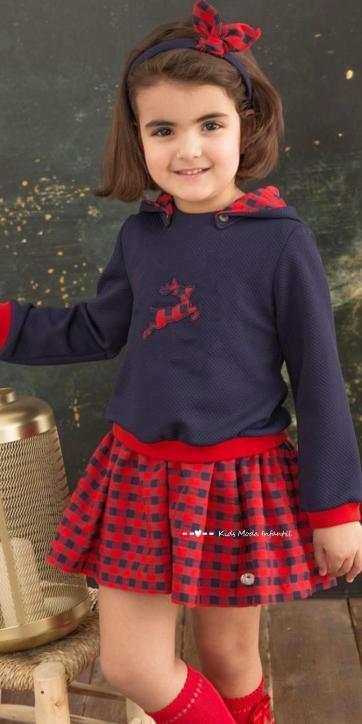 Vestido niña sudadera reno y falda cuadros de Basmartí