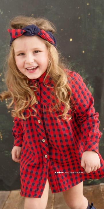 Vestido niña camisero de cuadro vichy rojo y marino de Basmartí