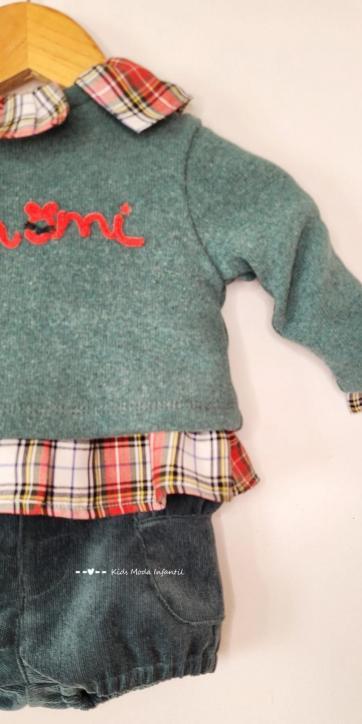 Conjunto bebe niña jersey monamí, camisa y bombacho de Coco Acqua Moda Infantil