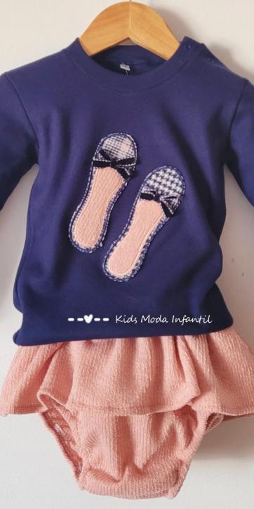 Conjunto bebe niña camiseta marino con manoletinas y culetín falda rosa Cuka Moda Infantil [1]