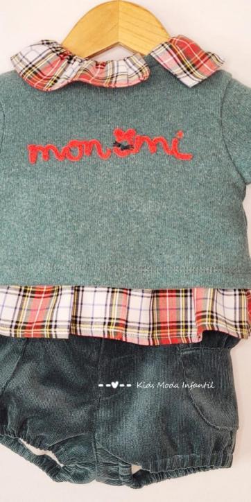Conjunto bebe niña jersey monamí, camisa y bombacho de Coco Acqua Moda Infantil [2]