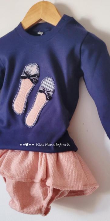 Conjunto bebe niña camiseta marino con manoletinas y culetín falda rosa Cuka Moda Infantil [2]