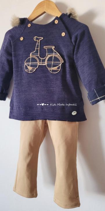 Conjunto bebe vestir jersey vespa y pantalón camel Basmarti [2]