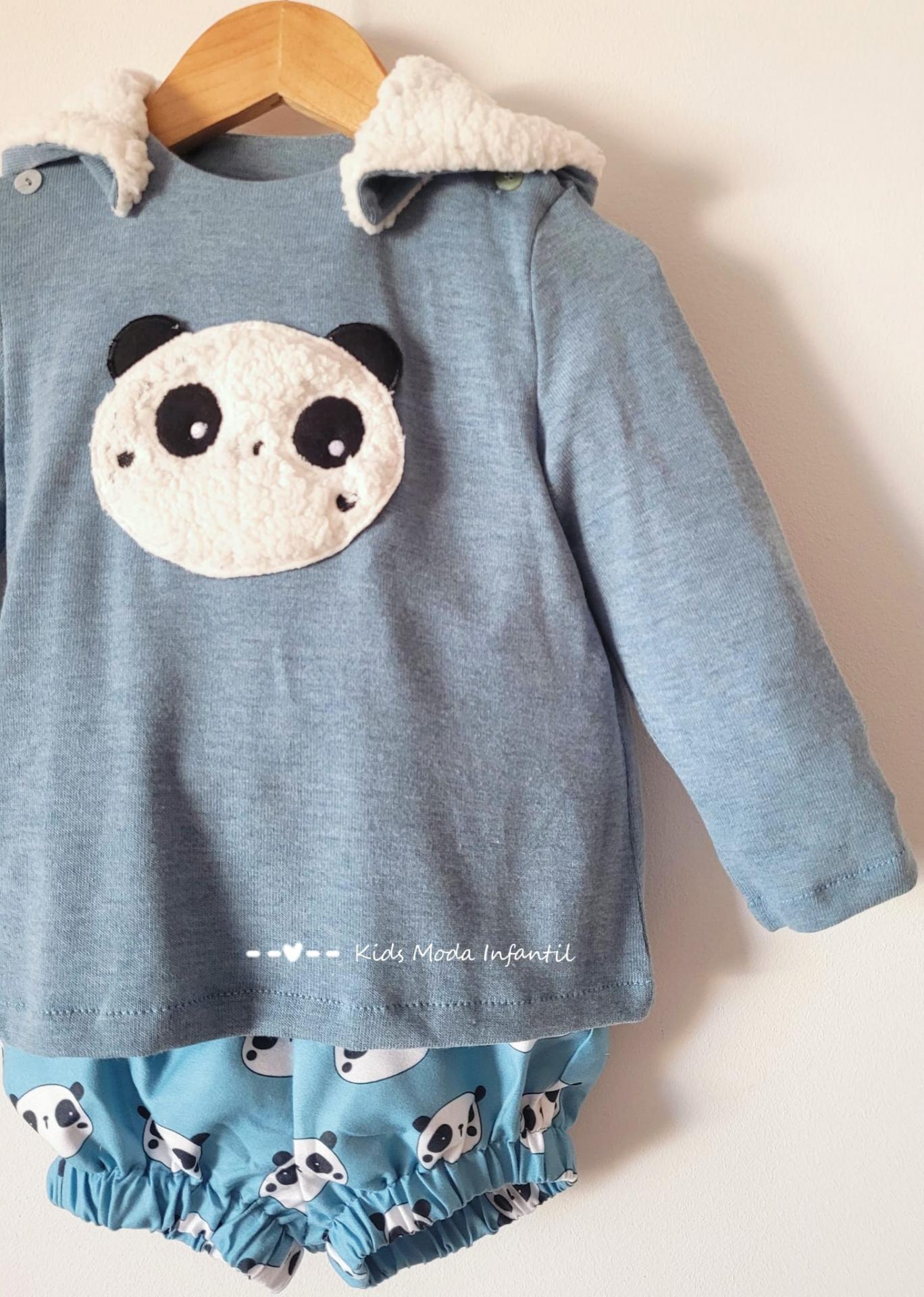 Conjunto bebe niño vestir jersey punto oso panda y bombacho de Cuka Moda Infantil