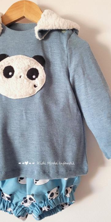 Conjunto bebe niño vestir jersey punto oso panda y bombacho de Cuka Moda Infantil [0]