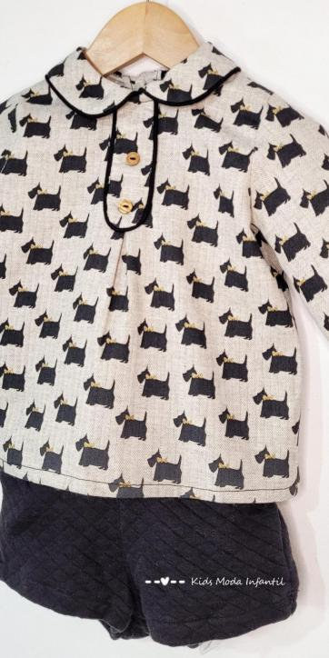 Conjunto bebe vestir camisa perros y short punto de Basmarti [1]