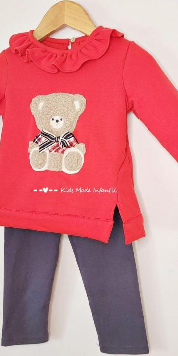 Conjunto niña legging y sudadera roja oso de Coco Acqua Moda Infantil [2]