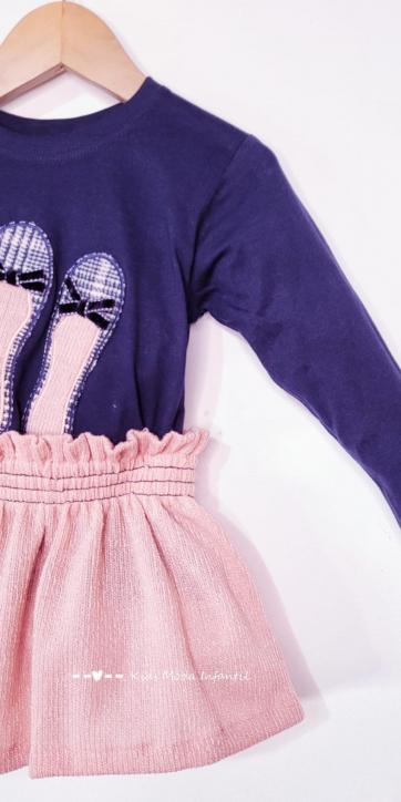Conjunto niña vestir camiseta marino con zapatos y falda rosa de Cuka Moda Infantil