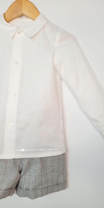 Conjunto niño vestir camisa manga larga y short cuadros grises de Eva Class