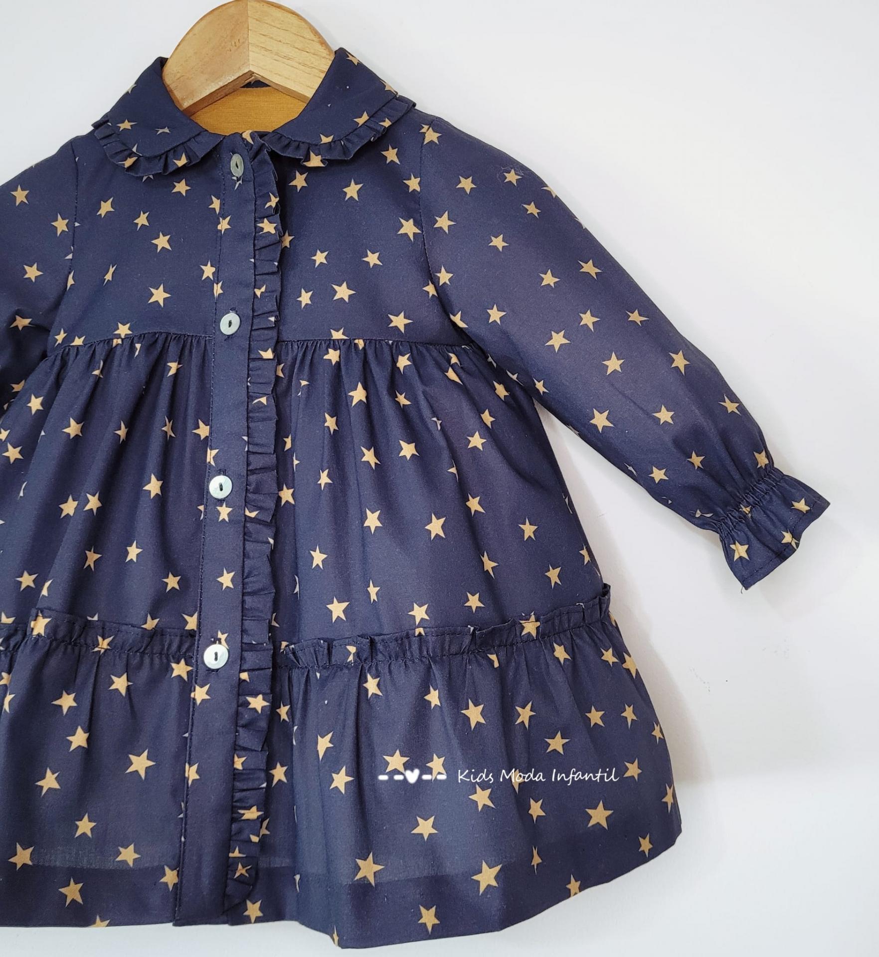 Vestido bebe camisero estrellas estampadas de Cuka Moda Infantil