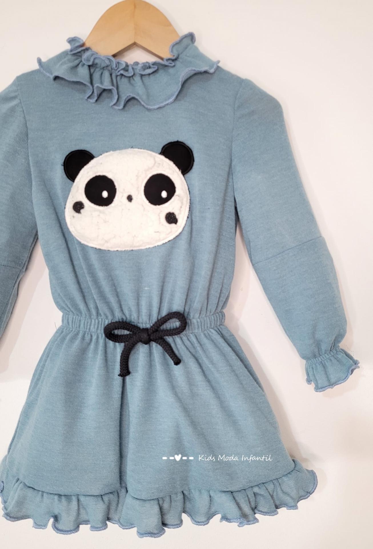Vestido niña punto azul con oso panda Cuka Moda Infantil