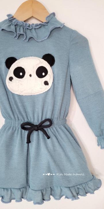 Vestido niña punto azul con oso panda Cuka Moda Infantil [0]