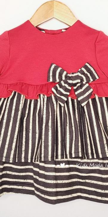 Vestido bebe vestir punto rojo y rayas rayas negras y beige de Cuka Moda Infantil [1]