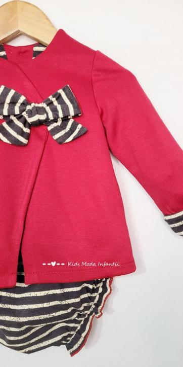 Vestido bebe evase punto rojo de Cuka Moda Infantil