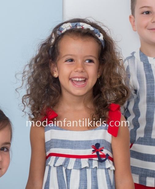 Diadema niña marinera trenzada en color blanco azul y rojo Basmarti