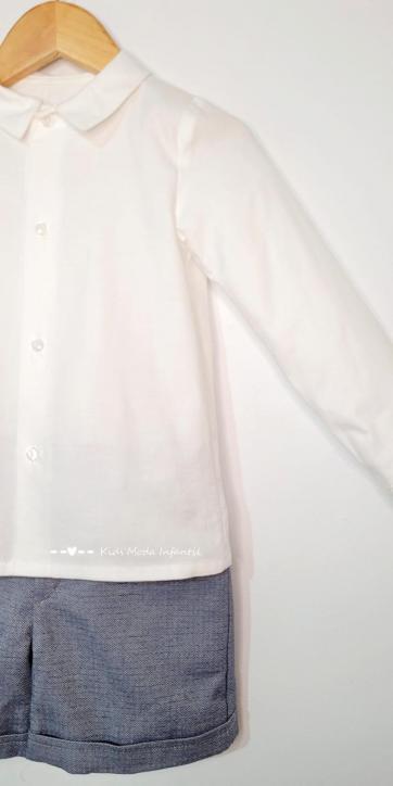 Conjunto niño vestir camisa beige manga larga y pantalon corto marino de Eva Class