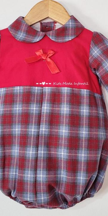 Pelele bebe rojo de cuadros estampados de Eva Class [2]
