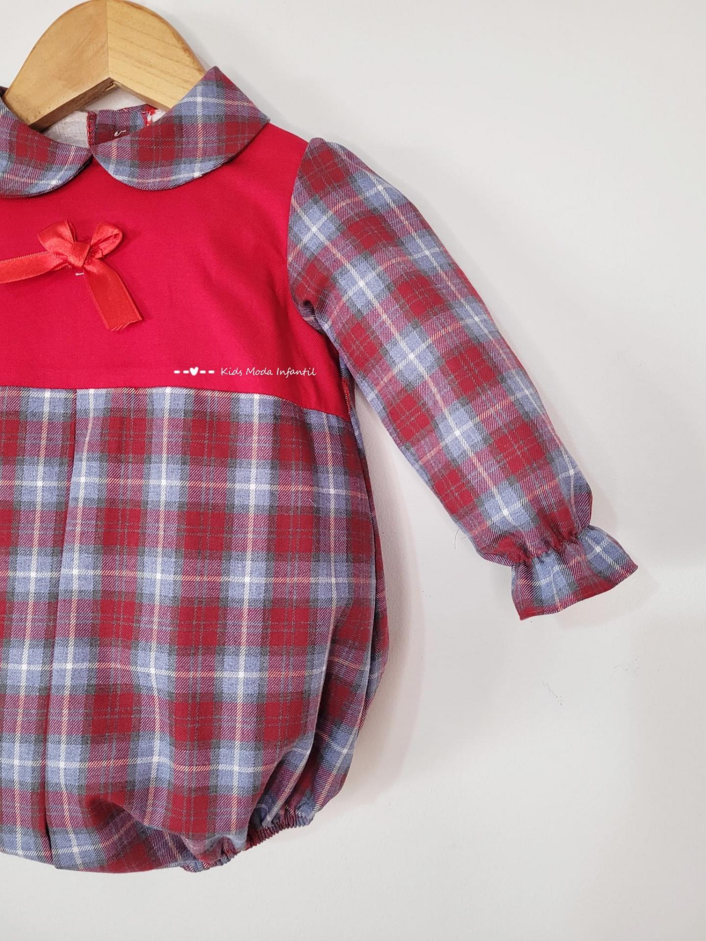Pelele bebe rojo de cuadros estampados de Eva Class