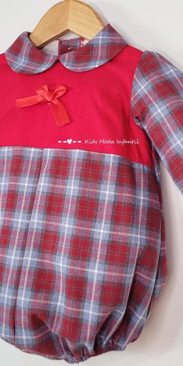 Pelele bebe rojo de cuadros estampados de Eva Class [1]