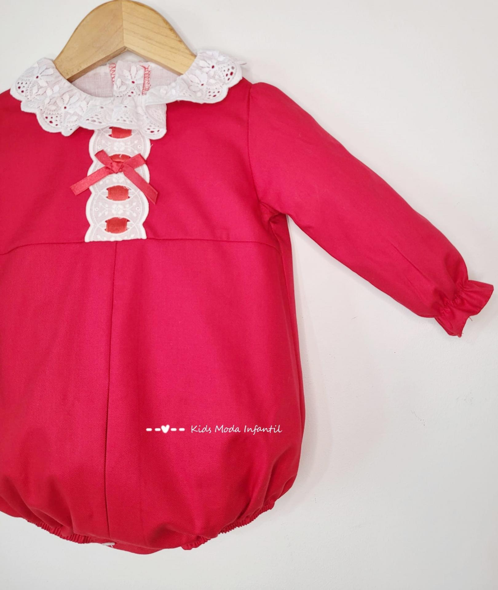 Pelele bebe vestir rojo de Eva Class