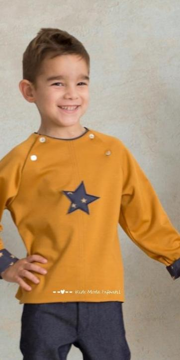 Sudadera niño punto mostaza con estrella de Cuka Moda Infantil