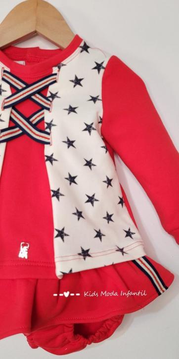 Conjunto bebe sudadera roja de estrellas y culetín falda de Vera Moda Infantil