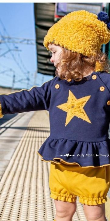 Conjunto bebe niña sudadera estrella con short bombacho de Vera Moda Infantil