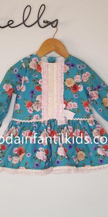 Vestido bebe de manga larga de rosas de colores estampadas Eva Class Moda Infantil [1]