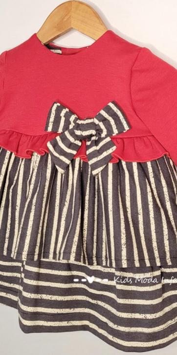 Vestido bebe vestir punto rojo y rayas rayas negras y beige de Cuka Moda Infantil [2]