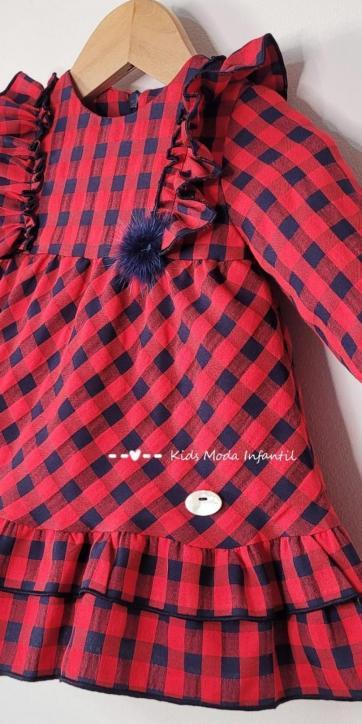 Vestido bebe vestir cuadro vichy rojo y azul marino de Basmarti