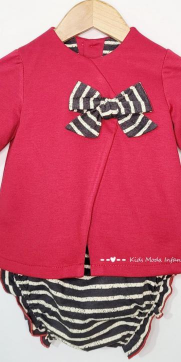 Vestido bebe evase punto rojo de Cuka Moda Infantil [2]