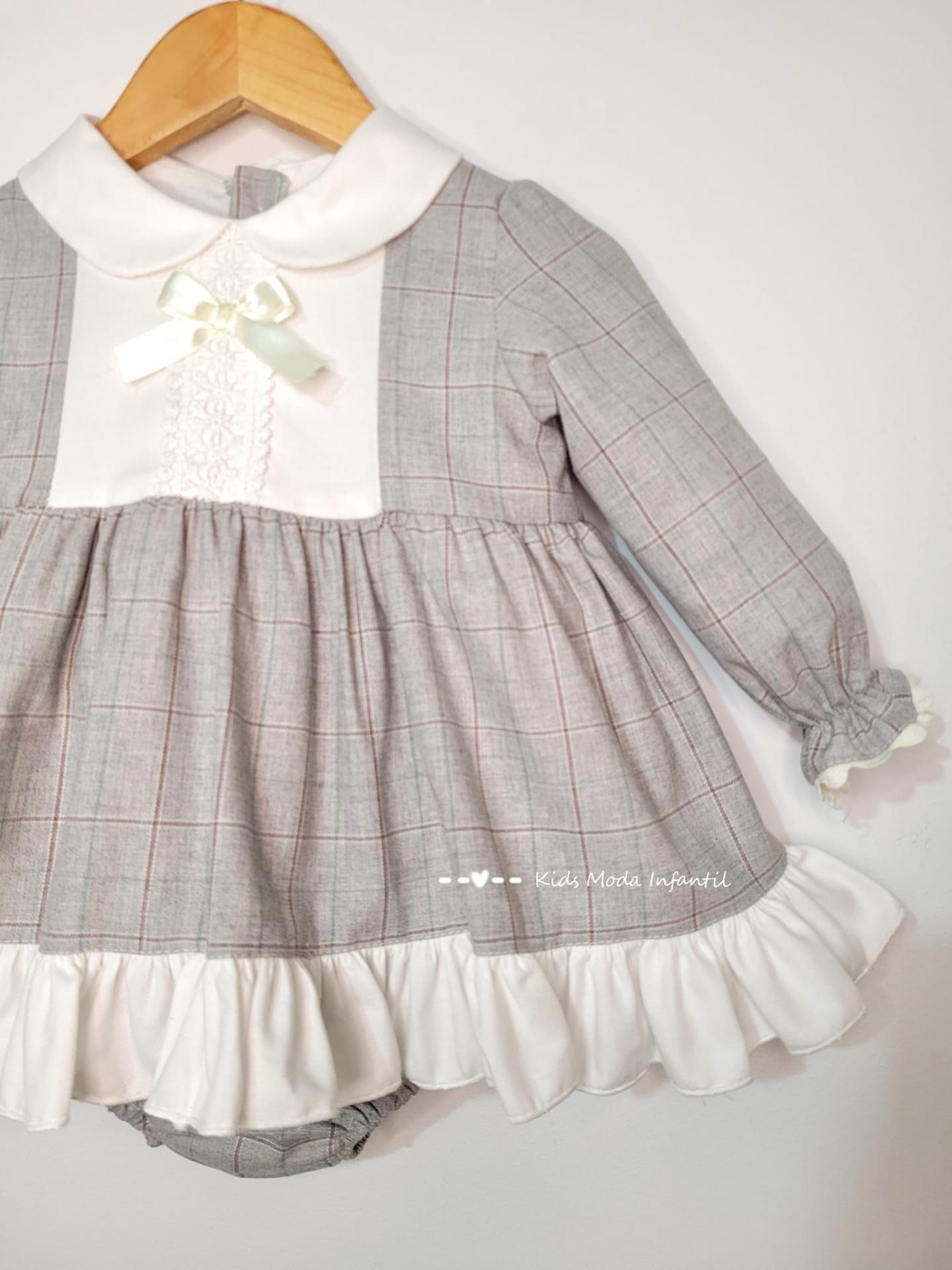 Vestido bebe vestir de cuadros grisese de Eva Class