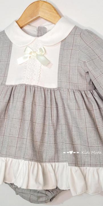 Vestido bebe vestir de cuadros grisese de Eva Class [1]