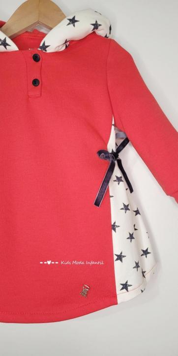 Vestido niña sudadera rojo con estrellas laterales de Vera Moda Infantil