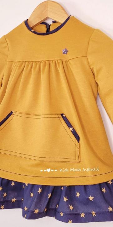 Vestido niña invierno mostaza y estrellas estampadas de Cuka Moda Infantil [2]