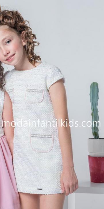 Vestido niña evase con bolsillos perlas de Nekenia [1]