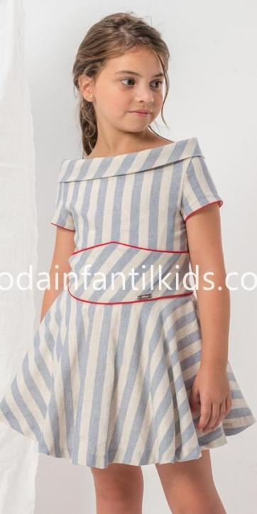 Vestido niña rayas con cuello barco de Nekenia [2]