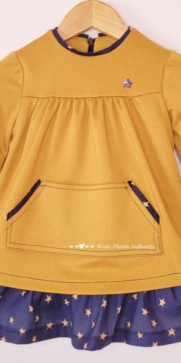 Vestido niña invierno mostaza y estrellas estampadas de Cuka Moda Infantil [3]