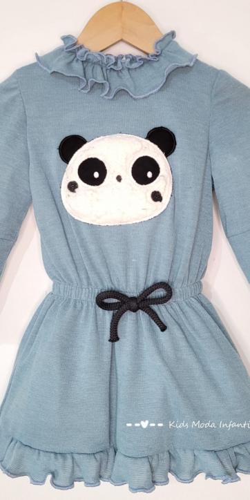 Vestido niña punto azul con oso panda Cuka Moda Infantil [1]