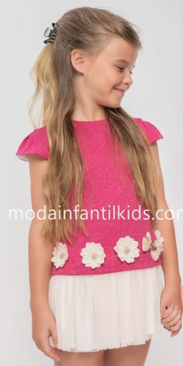 Vestido niña punto rosa verano con flores de rafia de Nekenia [1]