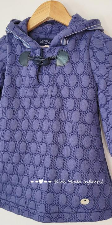 Vestido niña evase azulón con capucha de Basmartí