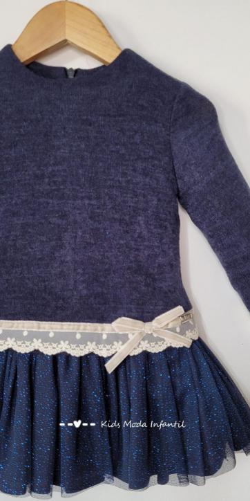 Vestido niña punto vigore con falda de tul de Nekenia