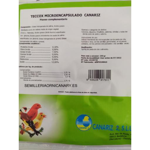 Teccox Microencapsulado Canariz 250 gr